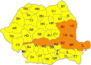 Cod portocaliu si galben de ploi in Oltenia