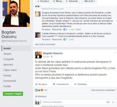 Bogdan Diaconu: Voi sesiza parchetul în legatură cu falsificarea acestor pseudo stenograme