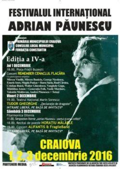 Craiova: Miercuri incepe Festivalului Internațional Adrian Păunescu