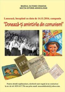 """Muzeul Olteniei lanseaza Campania """"Donează-ţi amintirile din comunism!"""""""