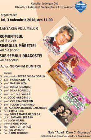 Craiova: Serafim Dumitru, triplă lansare de carte la Biblioteca Aman