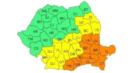 Cod galben de ninsori și viscol în Oltenia