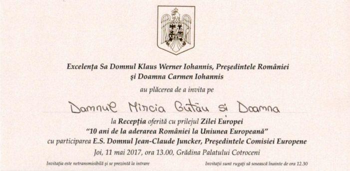 Primarul Mircia Gutău, invitat de preşedintele Klaus Iohannis la recepţia ocazionată de Ziua Europei