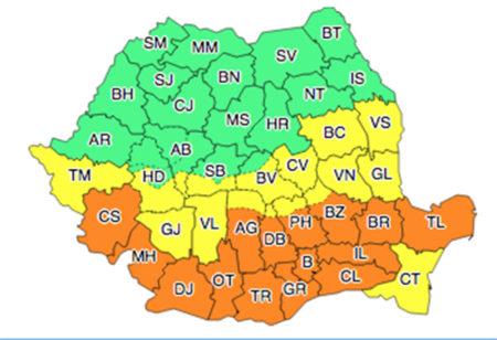 Cod portocaliu de ninsoare și viscol în Oltenia