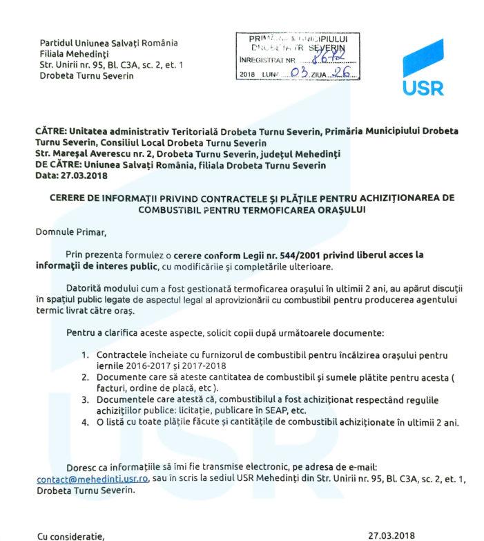 Mehedinti: Continua scandalul la Primaria Drobeta Turnu Severin : USR cere desecretizarea contractelor pentru achiziția de păcură