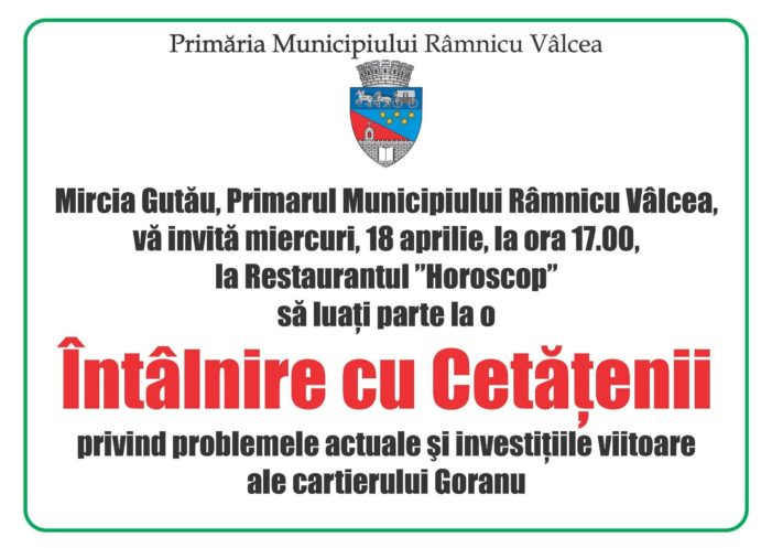 Miercuri, 18 aprilie, de la ora 17.00, primarul Mircia Gutău se întâlneşte cu locuitorii din Goranu