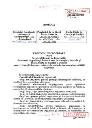 Protocolul de cooperare între SRI și PICCJ, declasificat