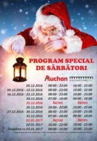 Care este programul magazinelor Auchan de Crăciun și de Anul Nou