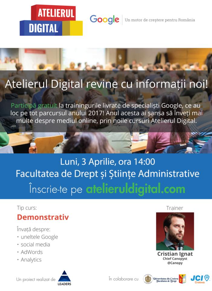 Google România și Fundația LEADERS revin cu Atelierul Digital in Craiova