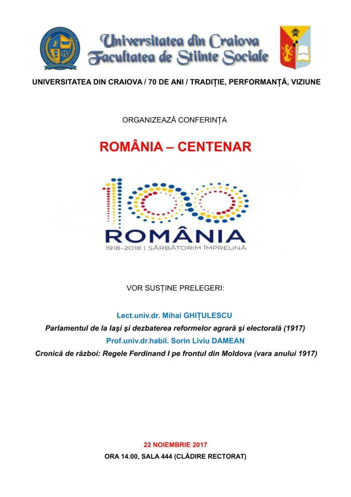 UCV: Conferința România – Centenar