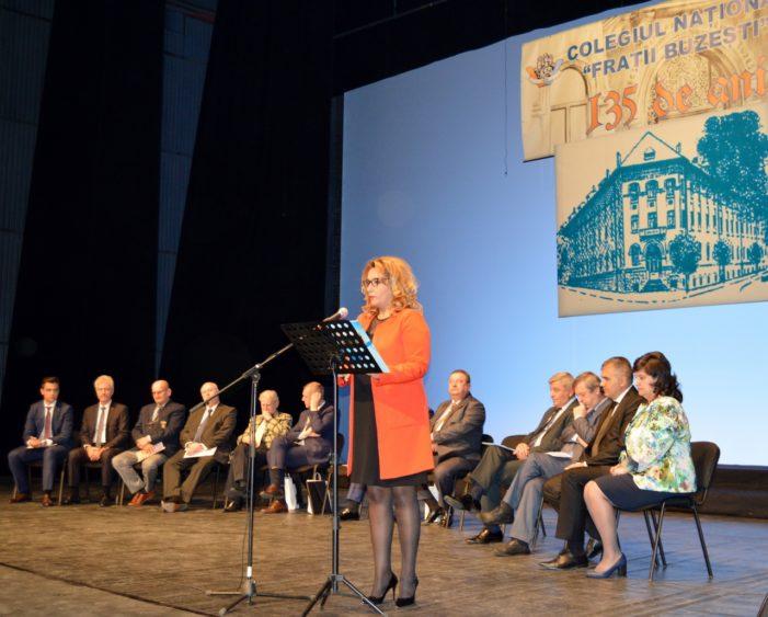 """Mesajul vicepreședintelui Consiliului Județean Dolj Oana Bică, adresat cu prilejul aniversării a 135 de ani de la înființarea Colegiului Național """"Frații Buzești"""""""