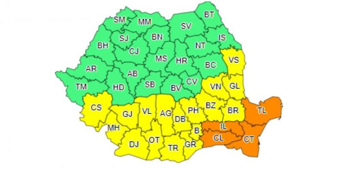 Cod galben de viscol şi ninsori în Oltenia