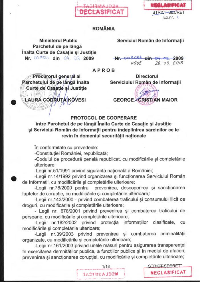 SRI a publicat Protocolul de colaborare cu Parchetul de pe lângă Înalta Curte de Casaţie şi Justiţie