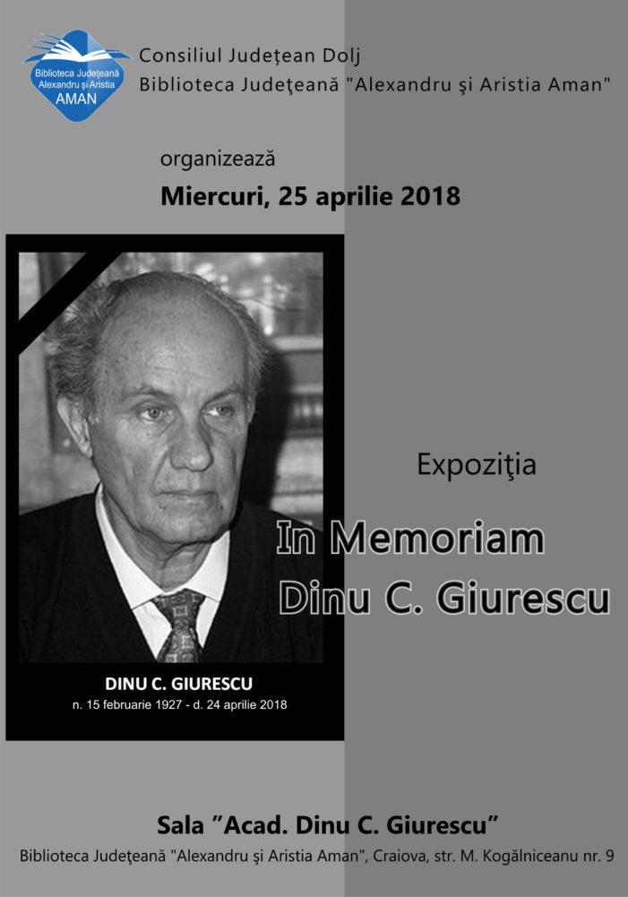 "Biblioteca Aman: Expoziția ""In Memoriam Dinu C. Giurescu"""