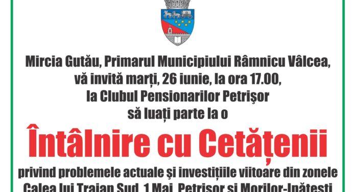 """Marţi, 26 iunie, de la ora 17.00, primarul Mircia Gutău se întâlneşte cu locuitorii din cartierele Petrişor, """"1 Mai"""", Calea lui Traian Sud şi Morilor-Inăteşti"""