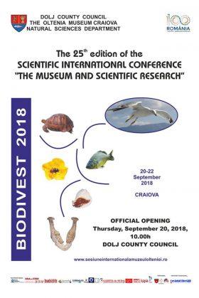 """Muzeului Olteniei:  Secția de Științele Naturii organizează a XXV-a ediție a Conferinţei Internaționale """"Muzeul și Cercetarea Ştiinţifică"""""""