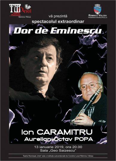 """""""Dor de Eminescu"""", un spectacol extraordinar ce marchează și la Râmnicu Vâlcea Ziua Culturii Naționale"""