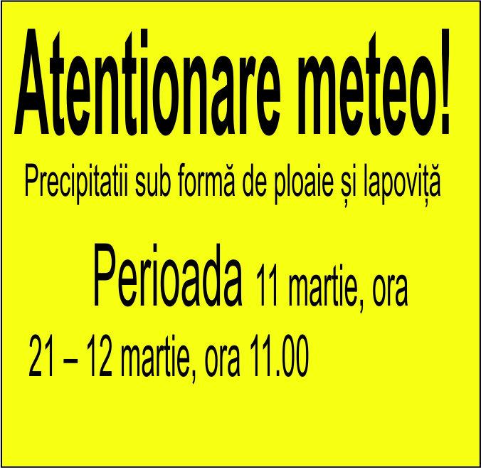 Atentionare meteo: Ploi si lapovita in Oltenia