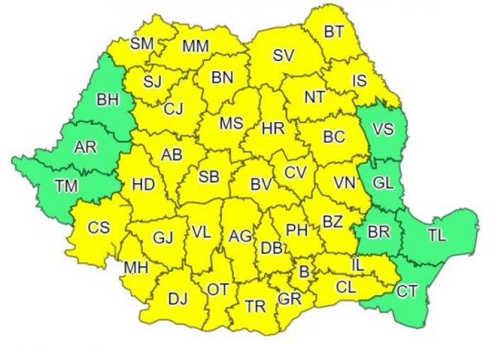 Ploi abundente în Oltenia până la ora 23.00