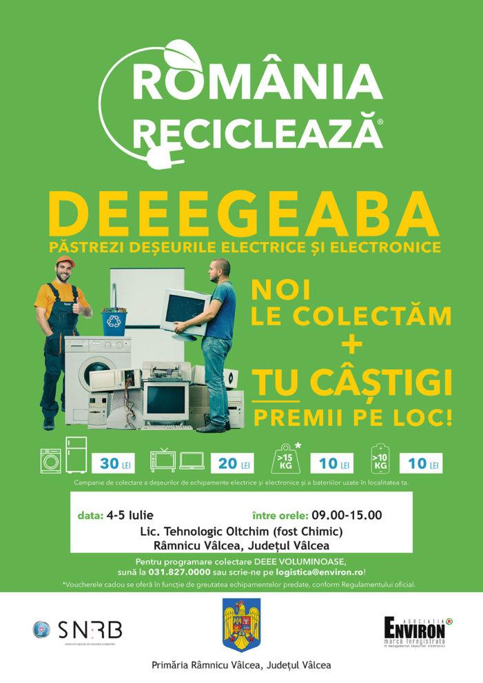 """Pe 4 şi 5 iulie 2019, locuitorii din Râmnicu Vâlcea participă la campania """"România Reciclează""""!"""