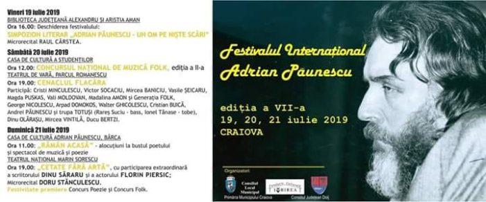 """Craiova: Cea de-a șaptea ediție a """"Festivalului Internațional Adrian Păunescu"""""""